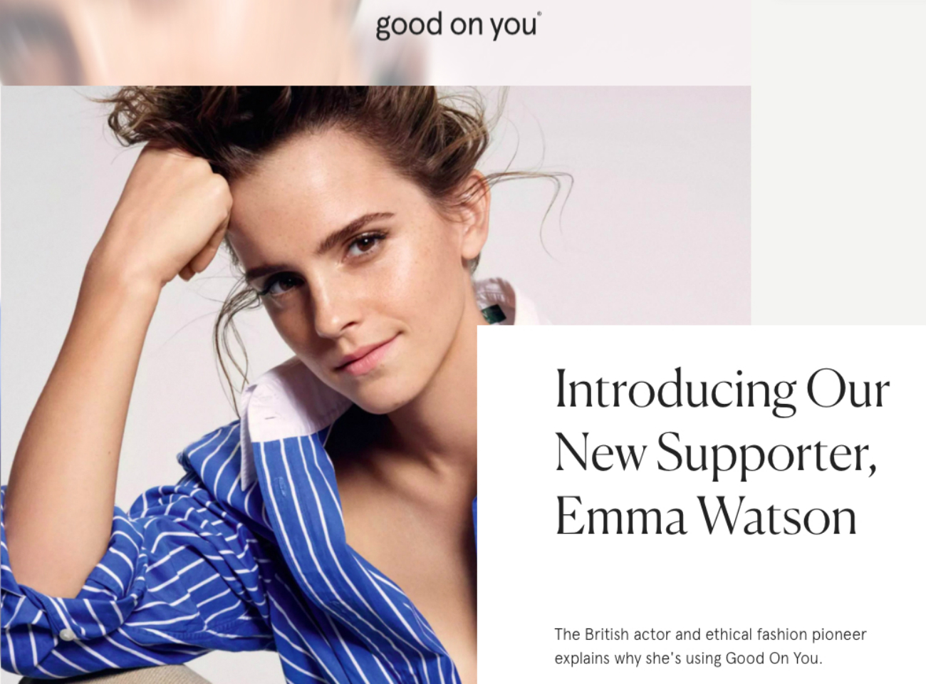 Actress Emma Watson promotes Good On You