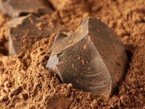 Piece of chocolate sitting in cocoa powder