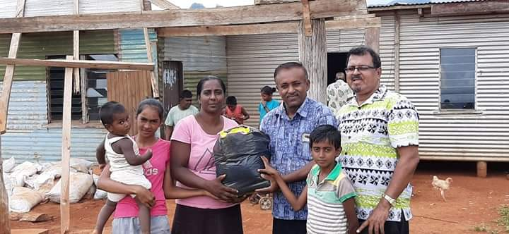 Family receiving food distribution