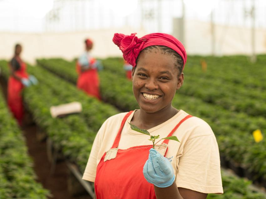 Female flower farmer in Ethopia behind flower farm